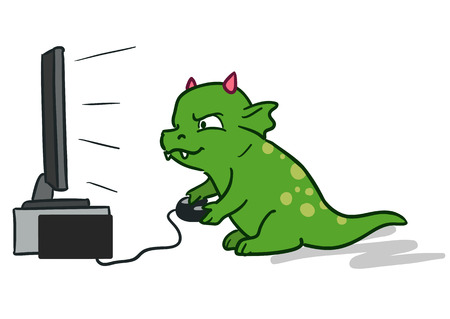 Vector hand-drawn cartoon character illustration of a cute green dragon monster sitting in front of flat big screen TV with game controller in hands, playing computer video games.