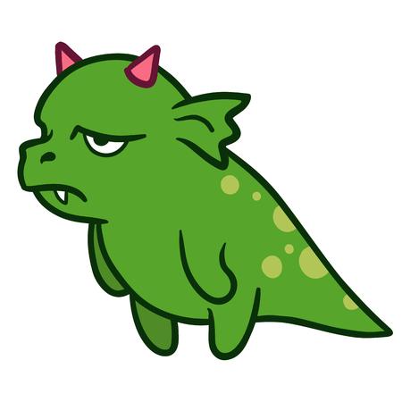 Cartoon illustration main vecteur tracé d'une drôle de mascotte de caractère de monstre dragon vert graisse couvaison avec des cornes roses, debout et en regardant triste, frustré et exaspéré, vue latérale Vecteurs