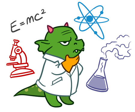 Cartoon vector hand drawn character doodle illustration of a funny green dragon scientist in a lab coat deep in thought, with science icons doodles around him, isolated on white