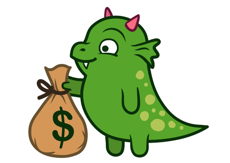 Vector hand drawn cartoon character illustration of a funny cute fat green friendly dragon monster with pink horns, smiling and holding a brown money bag with a dollar sign on it. Illustration