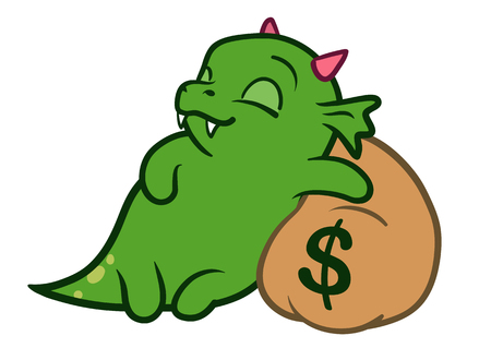 Vector hand drawn cartoon character illustration of a funny cute fat green friendly dragon monster with pink horns, asleep with a peaceful smile hugging a brown money bag with a dollar sign on it.