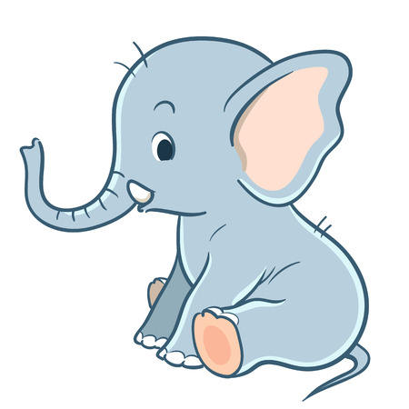 Vector hand drawn cartoon character illustration of a sitting cute baby elephant. Design element for children cards, invitations, stationery, baby showers.