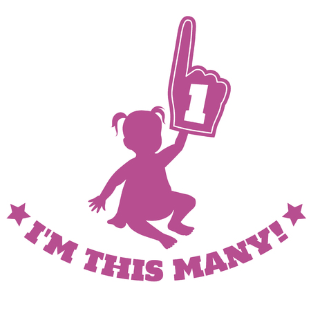 Vector silhouette illustration of a baby toddler girl holding up foam hand with number one on it, with caption below that says