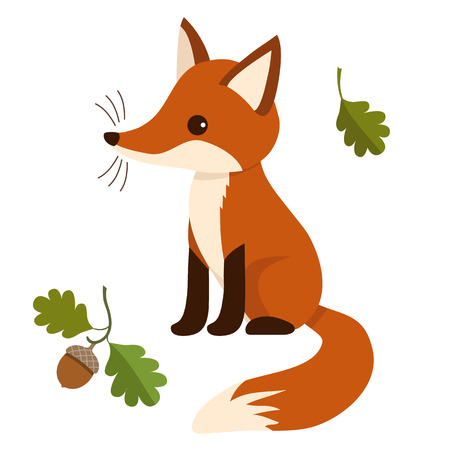 Flat vector illustration of a sitting cute red fox cub, with oak leaves and acorn. Wildlife woodland themed contemporary flat paper cutout style design element for print, cards, stationery.