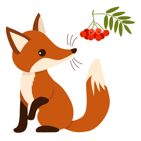 Flat vector illustration of a cute sitting fox cub character with mountain ash tree branch with leaves and berries. Contemporary flat woodland themed paper cutout style design element.