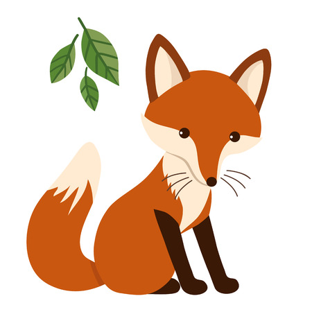 Flat vector cartoon illustration of a cute sitting red fox character with green leaves isolated on white. Contemporary flat style animal woodland themed design element for print, stationery, cards.