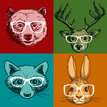 Vector hand drawn line drawing of woodland animal portraits, deer, bear, raccoon, rabbit, all wearing glasses, isolated on colored background. Hipster vintage retro style realistic funny animal faces Stock Illustratie