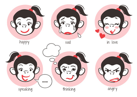 Vector hand drawn cartoon mascot character emoji stickers of a pretty monkey girl face showing different expressions: happy, sad, angry, in love, thinking, speaking, with thought and speech bubbles. Illustration