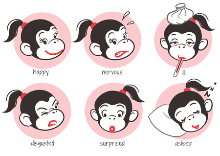 Vector hand drawn cartoon mascot character emoji sticker set of a pretty monkey girl face showing different expressions. Funny monkey emoticons.