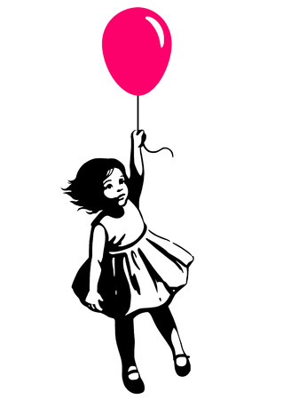 mid air: Vector hand drawn black and white silhouette illustration of a cute little toddler girl in a summer dress floating in mid air, holding a pink red balloon. Street art stencil style design element