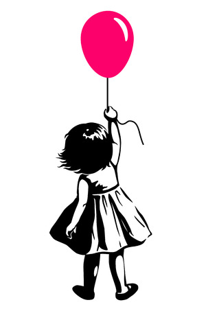 Vector hand drawn black and white silhouette illustration of a toddler girl standing with pink red balloon in hand, back view. Urban street art style graffiti stencil art design element. Иллюстрация