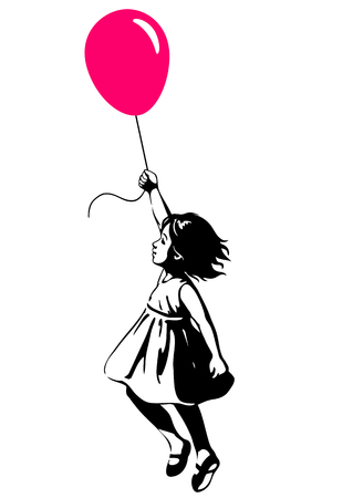 Vector hand drawn black and white silhouette illustration of a toddler girl floating in mid-air with pink red balloon in hand, side view. Urban street art style graffiti stencil art design element.