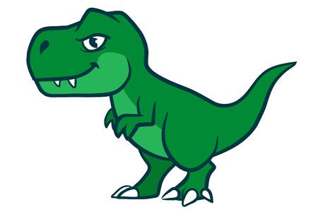 dibujado a mano ilustración de dibujos animados carácter vectorial de una linda sonrisa verde Tyrannosaurus Rex Ilustración de vector