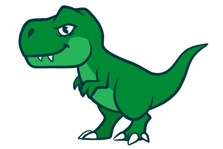Hand drawn cartoon vector character illustration of a cute smiling green Tyrannosaurus Rex Vettoriali