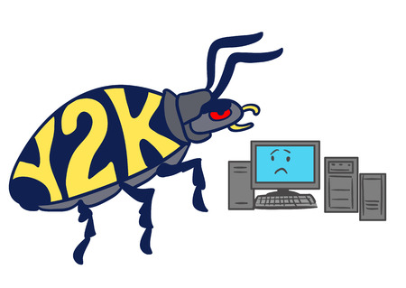 Vector hand drawn cartoon illustration of a huge Y2K millennium bug crawling towards a frightened-looking computer, isolated on white.