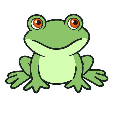 amphibian: Vector hand drawn cartoon illustration of a cute funny green sitting frog character.