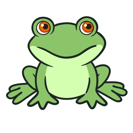 Vector hand drawn cartoon illustration of a cute funny green sitting frog character.