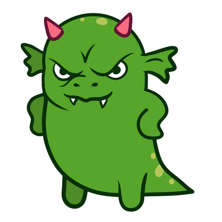 Vector hand drawn cartoon character illustration of a funny fat grumpy green dragon monster with pink horns, looking forward with an angry displeased scowl, standing with arms on hips, front view Vettoriali