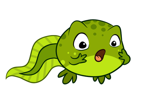 Cartoon vector character illustration of a cute green baby tadpole looking surprised, with wide eyes and open mouth, hands on cheeks. Showing human emotion, feeling shocked, stunned or excited.  イラスト・ベクター素材
