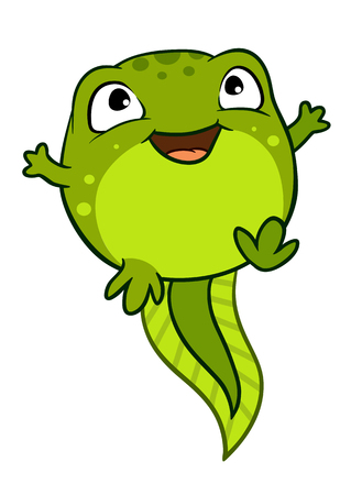 Vector cartoon illustration of cute happy baby tadpole character jumping for joy, bright green isolated on white background.