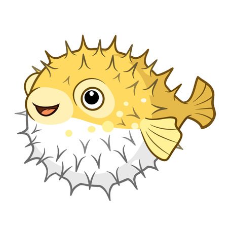 Cartoon illustration of a cute happy smiling yellow spiky puffer fish character isolated on white. Fugu