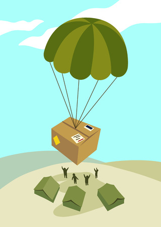 Vector illustration of a care package air dropped by parachute to deployed soldiers at a military base. Simple contemporary flat vector style.
