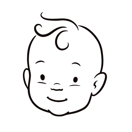 Black and white simple line vector cartoon illustration of a smiling baby face. Pen and ink hand drawing.
