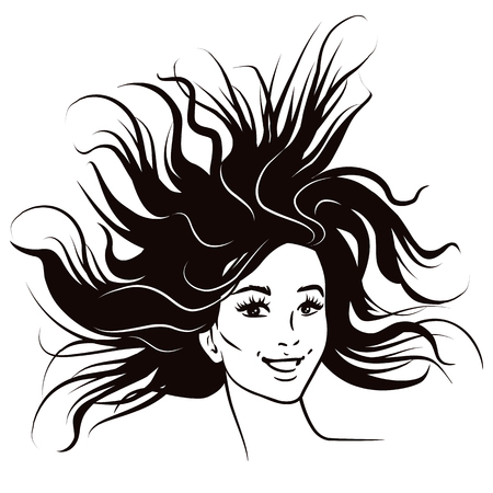 Black and white pen and ink style fashion female portrait. Attractive smiling confident young woman with long flowing windswept hair. Fashion comic book style illustration