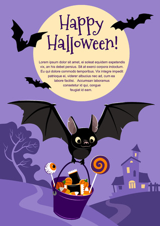 Vector illustration of a cute flying black bat carrying a bucket filled with candy, on purple background with a tree and haunted house in the distance and full moon. Blank template for Halloween theme Illustration