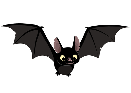 Vector cartoon illustration of cute friendly black bat character, flying with wings spread, in flat contemporary style isolated on white. Illustration