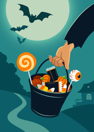 Hand carrying a trick-or-treat bucket full of Halloween candy Illustration