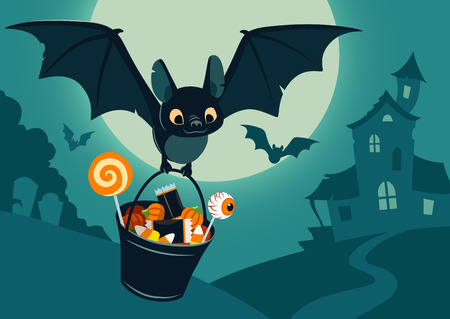 Vector illustration of nighttime Halloween scene, cute bat flying with bucket full of candy, with full moon, haunted house, forest cemetery in the background. Flyer, banner, poster or card template. Illustration