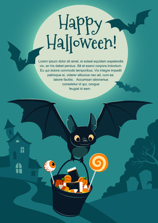 Vector illustration of a cute flying black bat carrying a bucket filled with candy, on purple background with a tree and haunted house in the distance and full moon. Blank template for Halloween theme 矢量图像