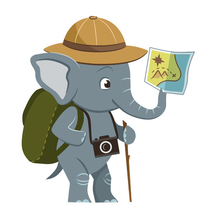 Vector cartoon character illustration of a cute little elephant wearing explorer hat, backpack and photo camera, holding a map in its trunk. Outdoor, camping, nature, sightseeing, exploring concept.