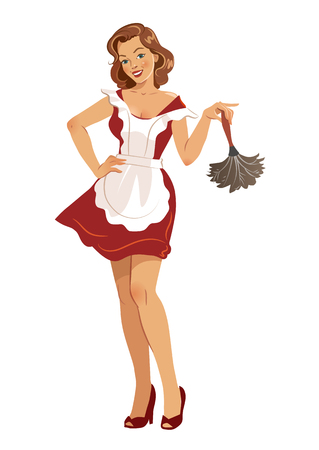 Vector illustration of a beautiful smiling young woman wearing high heels, red dress and white apron, holding a feather duster, in vintage retro pinup girl style, isolated on white.