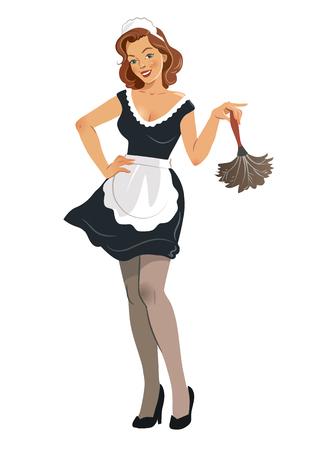 Vector l'illustrazione di bella giovane donna sorridente che indossa l'attrezzatura francese della domestica con il vestito nero ed il grembiule bianco, tenenti uno spolveratore della piuma, nel retro stile d'annata della ragazza del pinup, isolato su bianco. Archivio Fotografico - 88224154