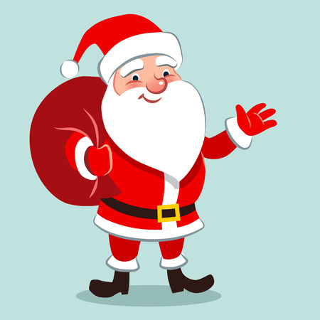 Vector cartoon illustration of happy cheerful traditional Santa Claus character in red outfit, black belt and boots, standing with gift sack on back, waving with one hand, in contemporary flat style Vettoriali