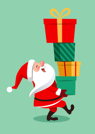 Vector cartoon illustration of funny Santa Claus character carrying a stack of big colorful gift boxes, isolated on aqua green background in contemporary flat style. Christmas theme design element Vettoriali