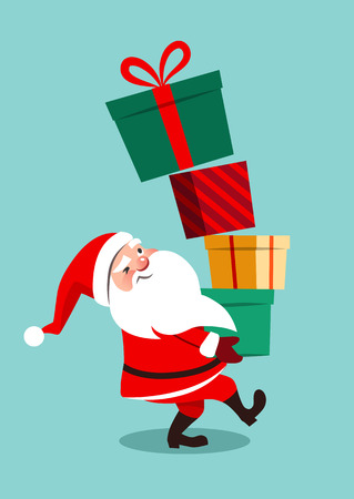 Vector cartoon illustration of funny anxious looking Santa Claus carrying a tall stack of colorful gift boxes, the topmost boxes off balance starting to fall down, isolated on aqua blue background.
