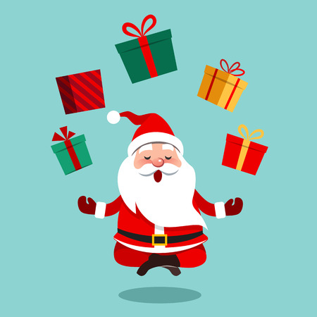 Vector cartoon illustration of funny cute Santa Claus sitting cross-legged in lotus position meditating, floating above ground with colorful gift boxes above him in a circle, contemporary flat style Illustration