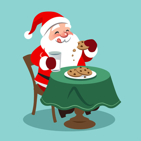 Vector cartoon illustration of happy looking Santa Claus sitting at table and eating cookies with milk, in contemporary flat style, isolated on aqua blue background. Christmas themed design element. Vettoriali