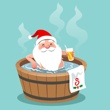 Vector cartoon illustration of Santa Claus sitting in a wooden barrel hot tub, holding glass of orange juice. Christmas theme design element, flat contemporary style, isolated on aqua blue 일러스트