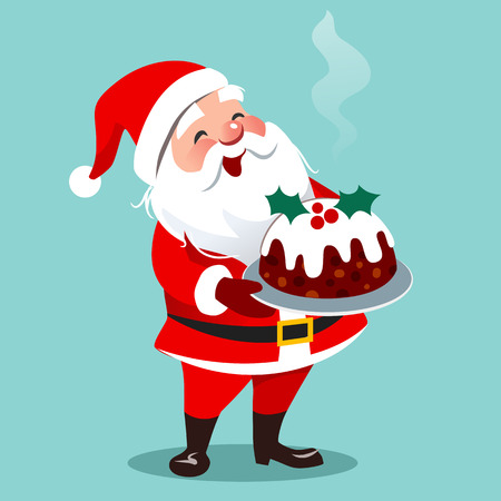 Vector cartoon illustration of happy Santa Claus standing holding traditional English Christmas fruit cake on a platter, isolated on aqua. Cristmas theme design element in flat contemporary style.