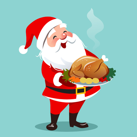 Vector cartoon illustration of happy smiling Santa Claus standing holding roasted turkey with vegetables on a platter.  Christmas theme flat contemporary design element template for cards, banners.
