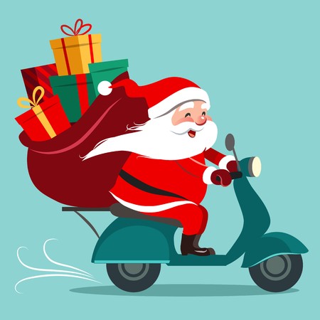 Vector cartoon illustration of happy Santa Claus with a gift sack riding a scooter. Christmas holiday theme design element for greeting cards, banners, ads in contemporary flat style.
