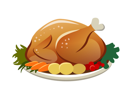 Vector illustration of a roasted turkey on a platter with potatoes, carrots and greens. Thanksgiving, Christmas, dinner food themed design element, flat contemporary style isolated on white.