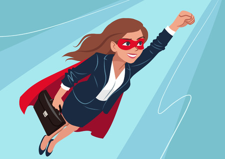 Young Caucasian superhero woman wearing business suit and cape, flying through air in superhero pose, on aqua background. Vector cartoon character illustration, business, achievement, goals theme.