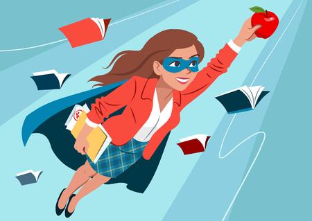 Młoda kobieta w pelerynie i masce lecąca w powietrzu w pozie superbohatera, wyglądająca na pewną siebie i szczęśliwą, trzymająca jabłko i folder z papierami, otwierająca książki. Nauczyciel, uczeń, koncepcja uczenia się edukacji