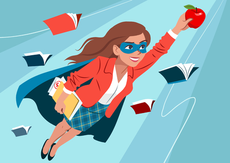 Young woman in cape and mask flying through air in superhero pose, looking confident and happy, holding an apple and folder with papers, open books around. Teacher, student, education learning concept Vectores