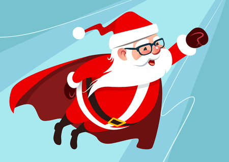 Vector cartoon illustration of cute funny Santa Claus as superhero, wearing cape, flying through the air with one arm stretched forward, on aqua blue background. Christmas flat design element.